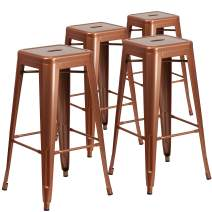 Flash Furniture 4 Pk. 30'' High Backless Copper Indoor-Outdoor Barstool
