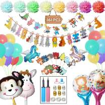 Woodland Party Supplies Set of 161 - Latex Animal Balloons,Baby Shower Cake Topper,Pom Paper Flowers,DIY Balloon Arch Garland Kit-Hand Pump,Balloon Tie Tool,Balloon Tape Strip,Dot Glue,Balloon Ribbon Creatures Party Supplies Girls Boys