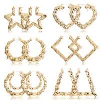 Hanpabum 6Pairs Large Bamboo Hoop Earrings for Women Geometric Earrings Hip-Pop Style Fashion Party Accessory