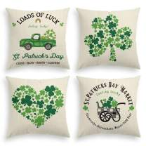 AVOIN St Patrick's Day Throw Pillow Cover, 18 x 18 Inch Lucky Clover Truck Rainbow Shamrock Linen Cushion Case for Sofa Couch Set of 4