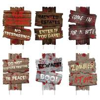 luck sea 6PCS Halloween Decorations Yard Signs Stakes Beware Props Outdoor Decor Scary Zombie Vampire Graves Party Supplies