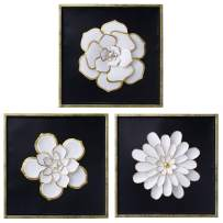 TERESA'S COLLECTIONS 3D Metal Flower Wall Art Décor with Frame,Decorative Metal Wall Sculpture Hanging Art for Home Living Room Decoration (Set of 3)