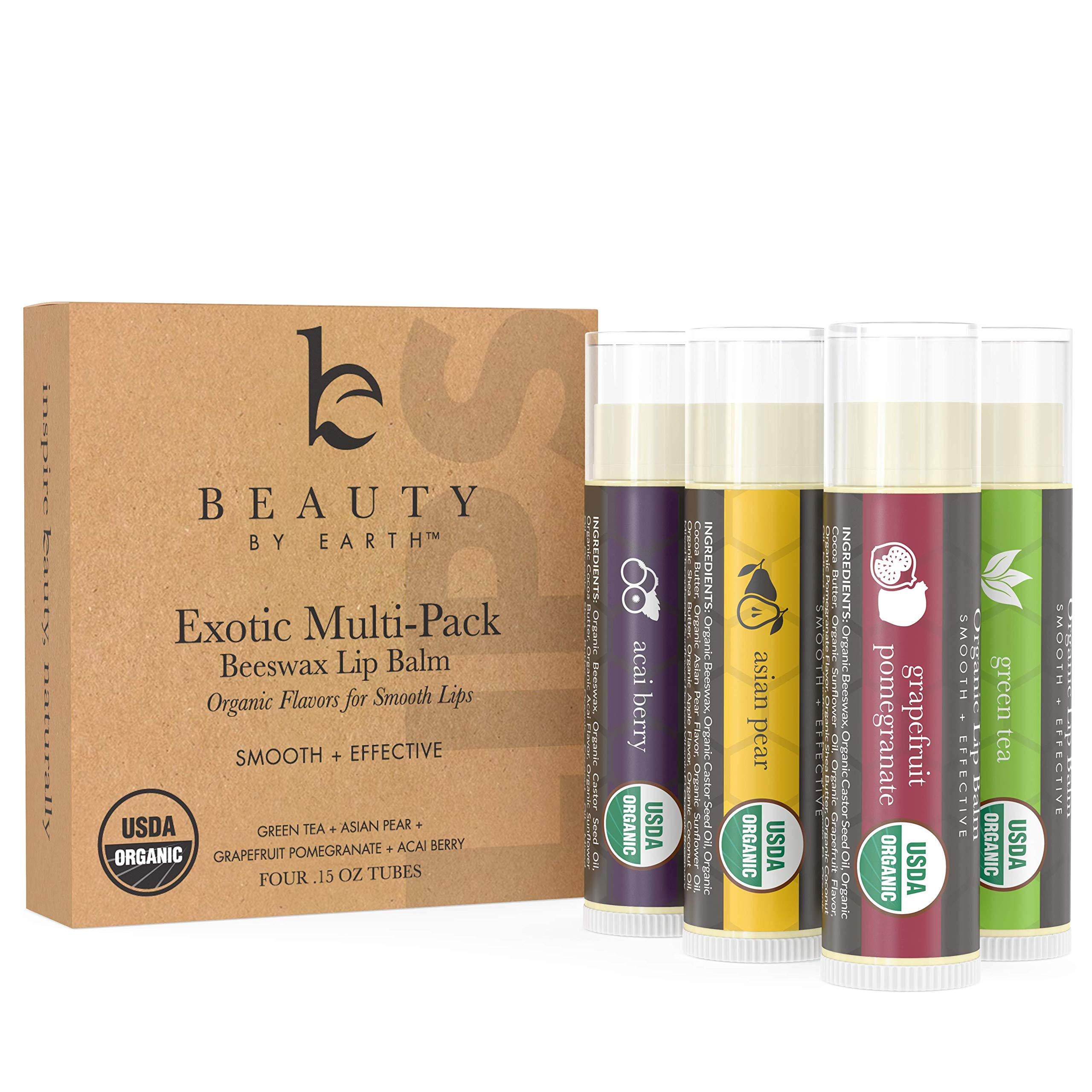Organic Lip Balm Flavor Pack - 4 Tubes of Natural Lip Balm, Lip Moisturizer, Lip Treatment for Dry Lips, Lip Care Gifts for Women or Men, Lip Repair, Organic Chapstick for Soft Lips, Stocking Stuffers