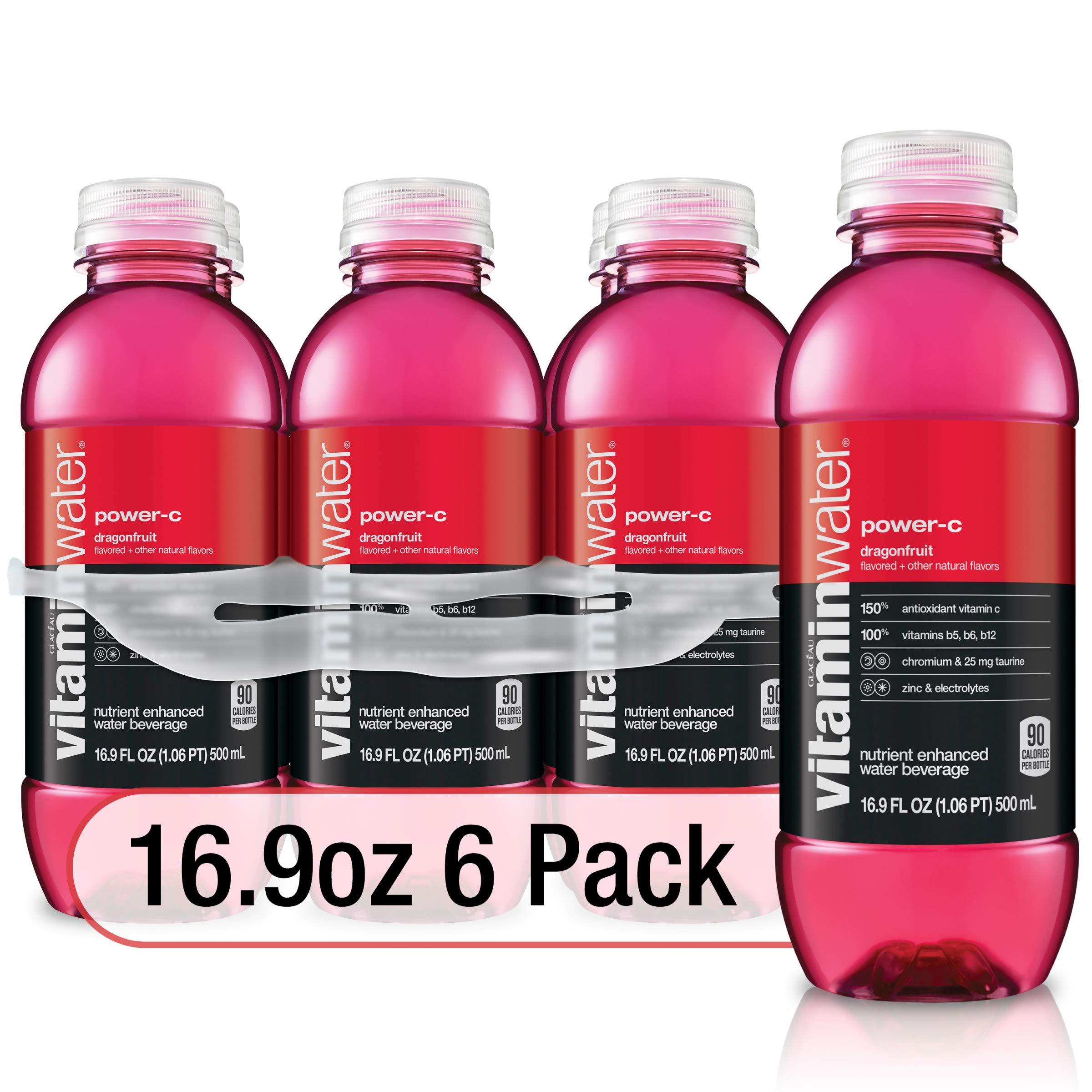 vitaminwater power-c electrolyte enhanced water w/ vitamins, dragonfruit drinks, 16.9 fl oz, 6 Pack