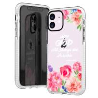 iPhone 11 Case,Cute Pink Peony Floral Flowers Rose Daisy Bible Verses Girls Women Christ Christian Inspirational Quotes Matthew 19:26 Trendy Soft Protective Clear Design Case Compatible for iPhone 11
