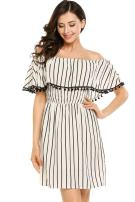 Zeagoo Women's Casual Off Shoulder Striped Ruffles Strapless Short Dresses Mini Dresses