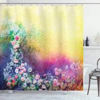 "Ambesonne Flower Shower Curtain, Ivy Floral Beauty in Spring Blooming Nature Soft Calm Paradise Print, Cloth Fabric Bathroom Decor Set with Hooks, 70"" Long, Purple Yellow"