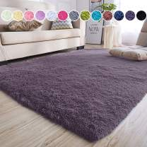 junovo Ultra Soft Area Rugs 4 x 5.3ft Fluffy Carpets for Bedroom Kids Girls Boys Baby Living Room Shaggy Floor Nursery Rug Home Decor Mats, Grey-Purple