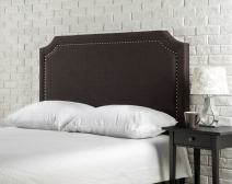 Zinus Upholstered Nailhead Detailed Headboard, Full/Queen, Dark Brown