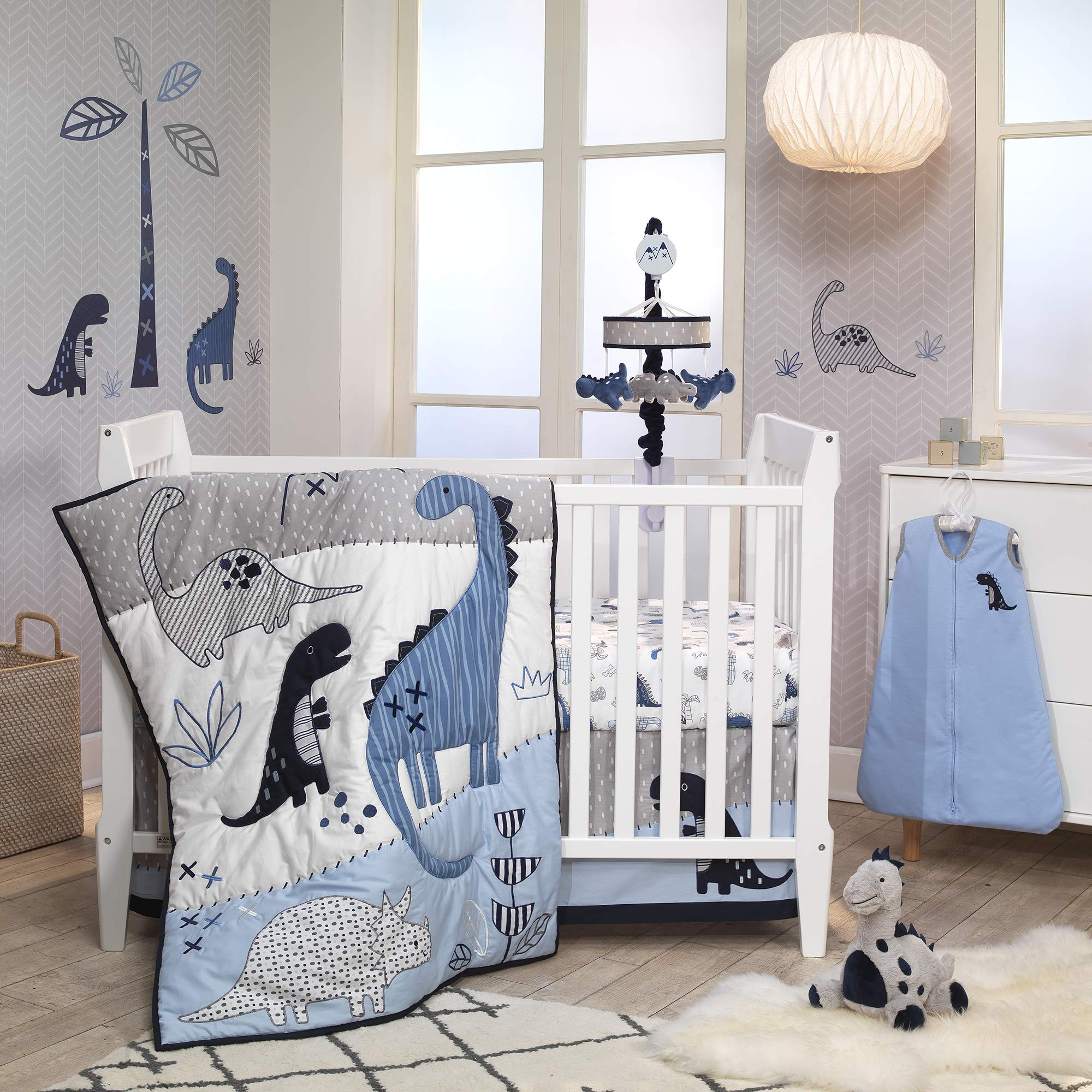 Lambs & Ivy Baby Dino Blue/White Dinosaur Nursery 6-Piece Crib Bedding Set