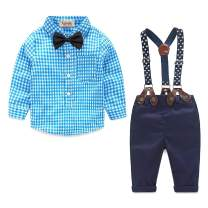 Baby Boy Clothes Set Shirt + Bowtie + Suspender Pant Set 4pcs Toddler Boy Infant Gentleman Outfits Suit Set