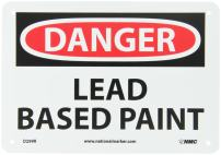 "NMC D299R OSHA Sign, Legend ""DANGER - LEAD BASED PAINT"", 10"" Length x 7"" Height, Rigid Plastic, Black/Red on White"