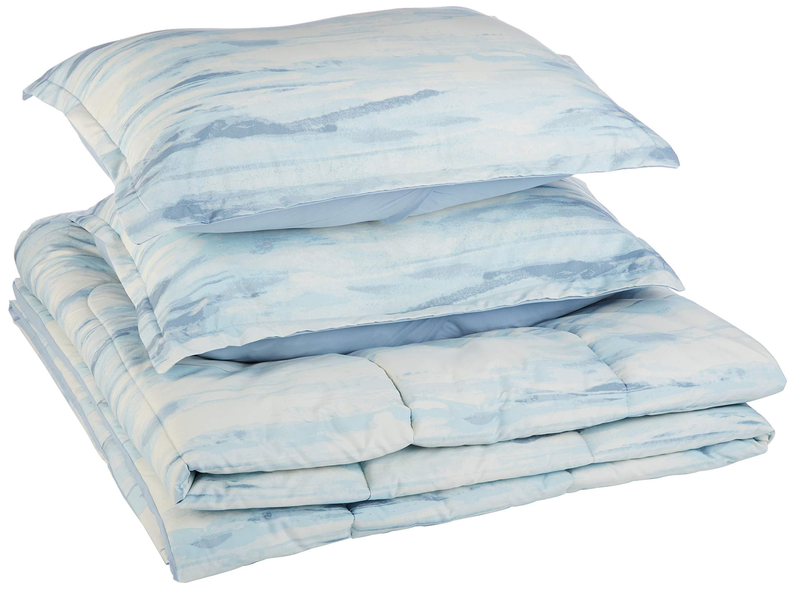 AmazonBasics Comforter Set, Full / Queen, Blue Watercolor, Microfiber, Ultra-Soft