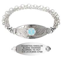 Divoti Custom Engraved Medical Alert Bracelets for Women, Stainless Steel Medical Bracelet, Medical ID Bracelet w/Free Engraving – Angel Wing Tag w/Tri-Strand – Color/Size
