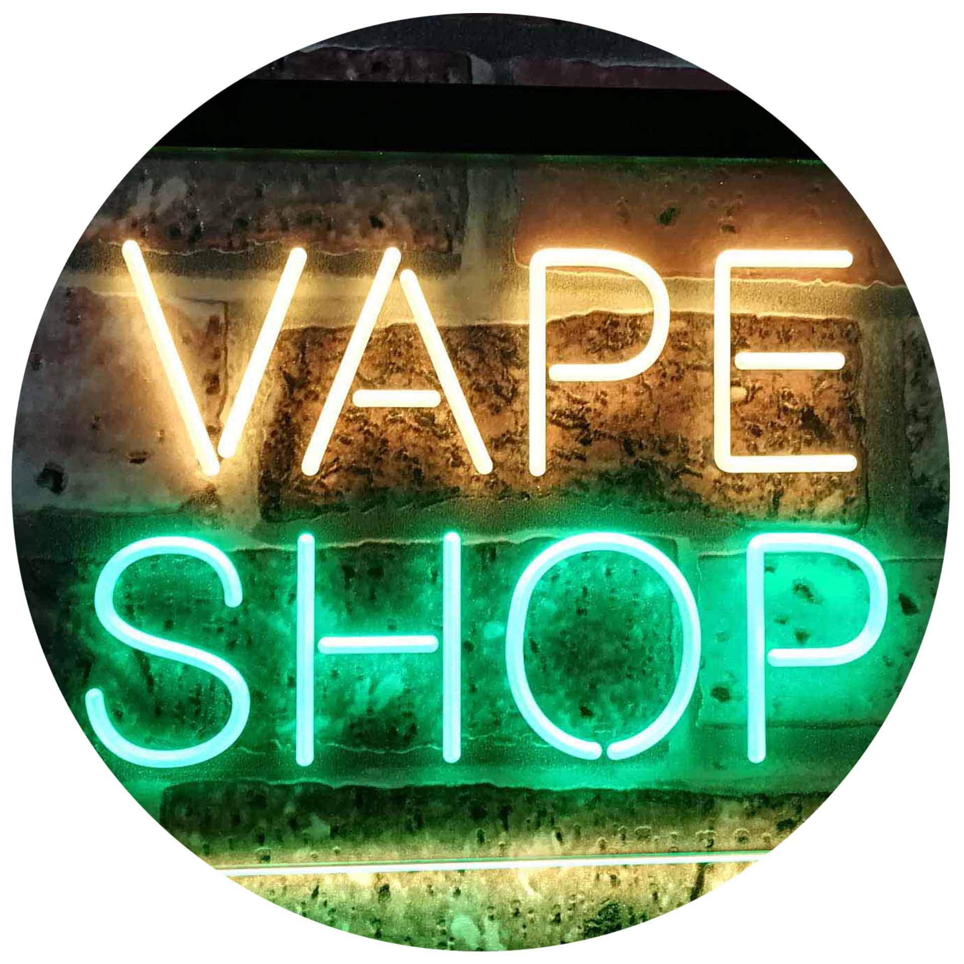 "ADVPRO Vape Shop Indoor Display Dual Color LED Neon Sign Green & Yellow 16"" x 12"" st6s43-i3018-gy"
