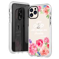 iPhone 11 Pro Max Case Clear,Cute Pink Peony Floral Flowers Rose Bible Verses Girls Women Christian Quotes Matthew 19:26 Trendy Soft Protective Clear Design Case Compatible for iPhone 11 Pro Max