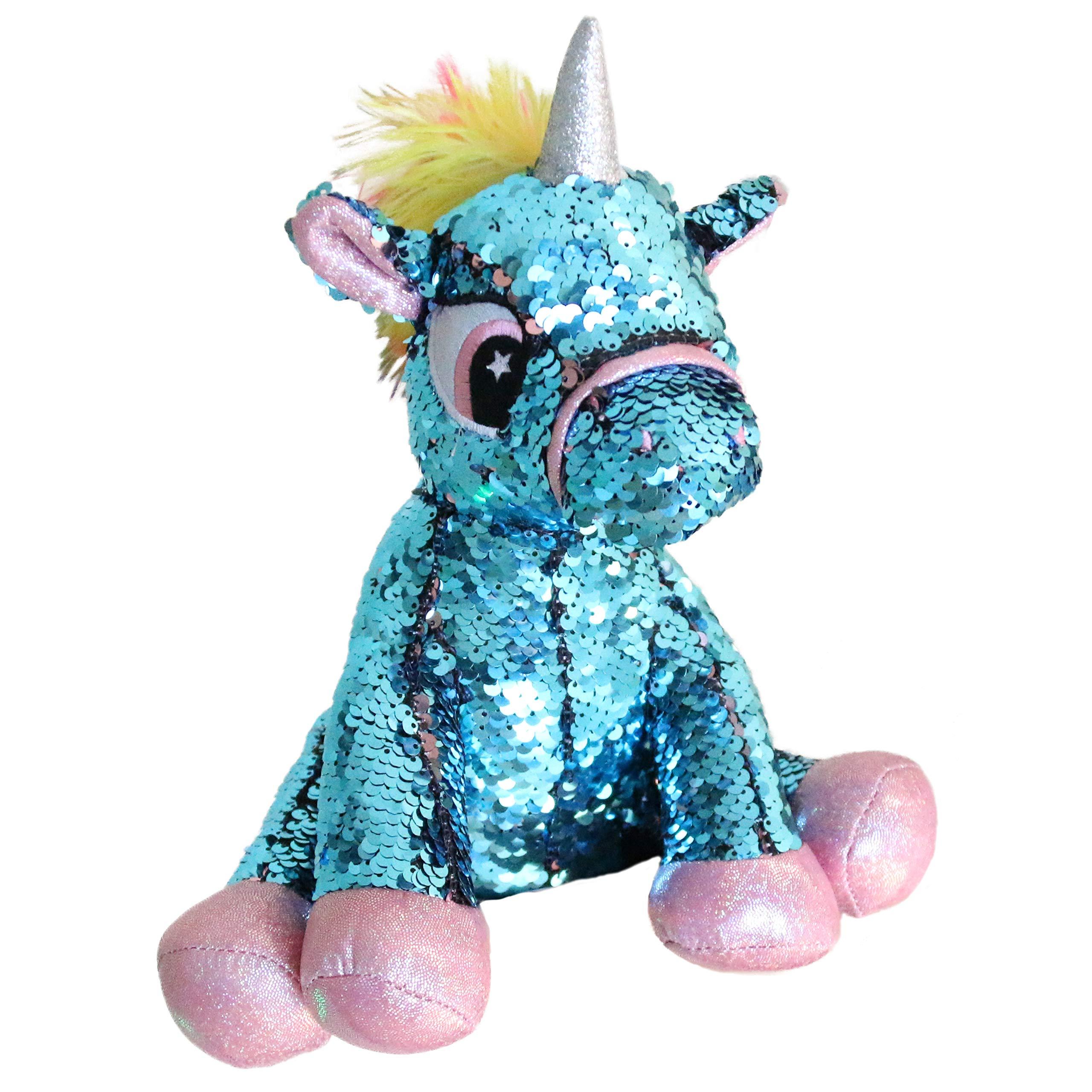Athoinsu Flip Sequin Stuffed Animal Unicorn Plush Toy with Reversible Sequins Sparkle Birthday for Toddler Kids, Blue, 11''