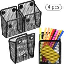 Magnetic Pencil Holder, Mesh Storage Baskets with Magnets to Hold Whiteboard/Refrigerator/Locker Accessories (4 Packs)