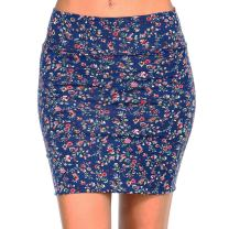 Fashionazzle Women's Casual Stretchy Bodycon Pencil Mini Skirt (Large, KS05-#13 Navy)