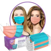 Colored Disposable Face Mask (50 Pack) - Premium 3-PLY Colored Masks with Comfortable Earloops & Adjustable Nose Strip, Non-Medical Disposable Face Masks Colors - Designer Blue and Blush Pink Masks
