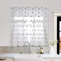 MYSKY HOME Pom Pom Kitchen Curtains 36 inch Length 3 Pieces Jacquard Rod Pocket Sheer Tier and Valance Curtain Sets(Pompom-Grey)