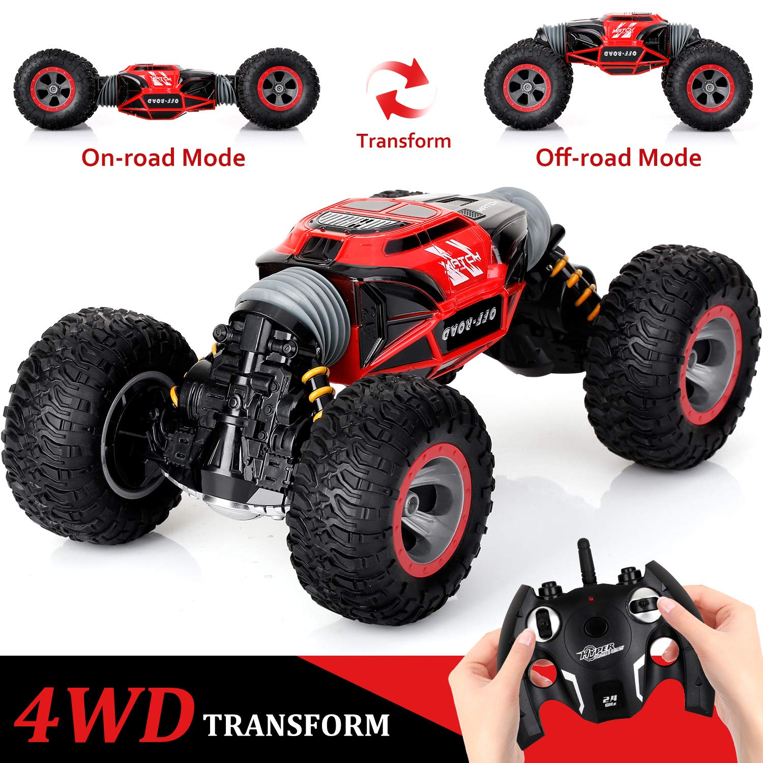 KingsDragon Remote Control Car,2.4 GHZ High Speed Stunt RC Racing Cars RC Rock Crawler w/ Rechargeable Batteries,Indoor Outdoor Motors Vehicles Buggy Hobby Car Toy Gifts for Kids Boys Girls Adult-Red