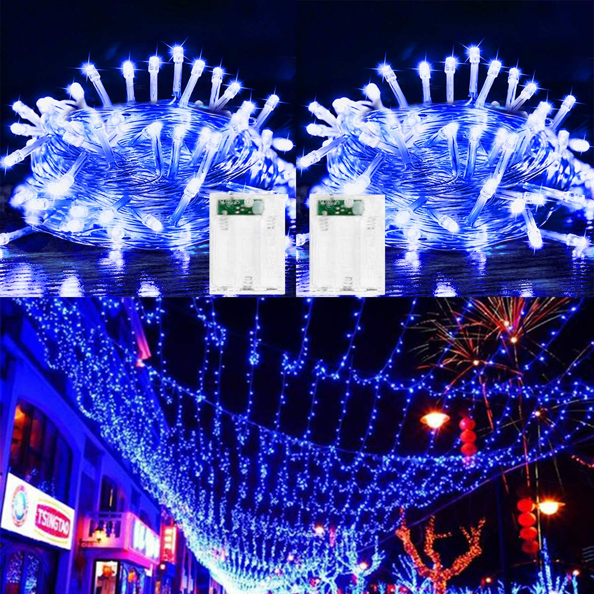 2 Pack LED String Lights Battery Operated Fairy String Lights Twinkle Decorative Lights 50 LED 16.5ft Battery Powered Starry Lights for Bedroom, Wedding, Chirstmas, Festival Party, Garden, Patio Decor
