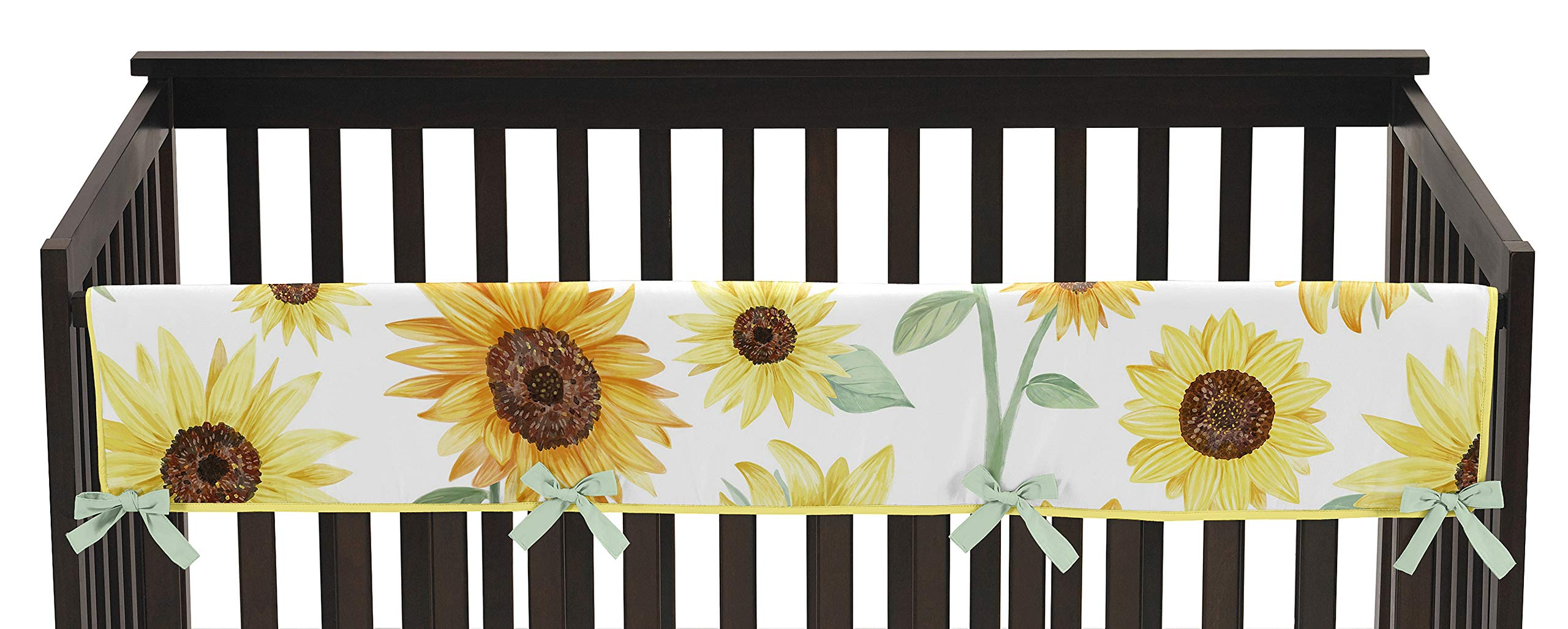 Sweet Jojo Designs Yellow, Green and White Sunflower Boho Floral Girl Long Front Crib Rail Guard Baby Teething Cover Protector Wrap - Farmhouse Watercolor Flower