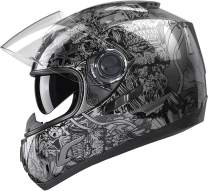 GLX Unisex-Adult GX15 Lightweight Full Face Motorcycle Street Bike Helmet with Internal Sun Visor DOT Approved (Silver Skull, X-Large)