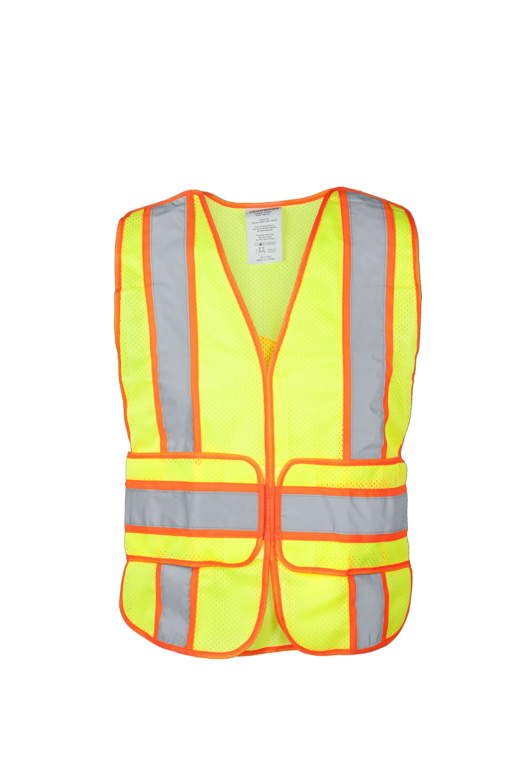 """Ironwear 1290FR-L-1-MD-XL ANSI Class 2 Flame Retardant Polyester Mesh Chevron SAFETY Vest with 2"""" Silver Reflective Tape Over Lime, Medium/X-Large"""