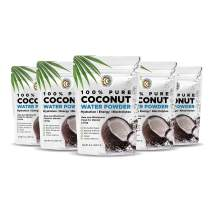 Earth Circle Organics | Pure Young Dried Coconut Water Powder | Hydration | Energy and Electrolyte Supplement | No Additives | Unsweetened | Natural Keto Water Enhancer | Vegan | Gluten Free (5 Pack)