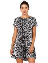 OEUVRE Women's Leopard Tunic Dress Shift Jersey Party Street Style