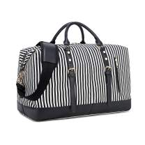 CAMTOP Weekend Travel Bag Ladies Women Duffle Tote Bags PU Leather Trim Canvas Overnight Bag (Stripe-Black)