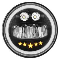 Zmoon 7'' Round LED Motorcycle Headlight 100W Cree with High/Low Beam Amber/White Turn Signal Halo Ring Angle Eyes Compatible with Harley Davidson Jeep Wrangler JK TJ LJ CJ Hummer H1 H2(1 Pack)
