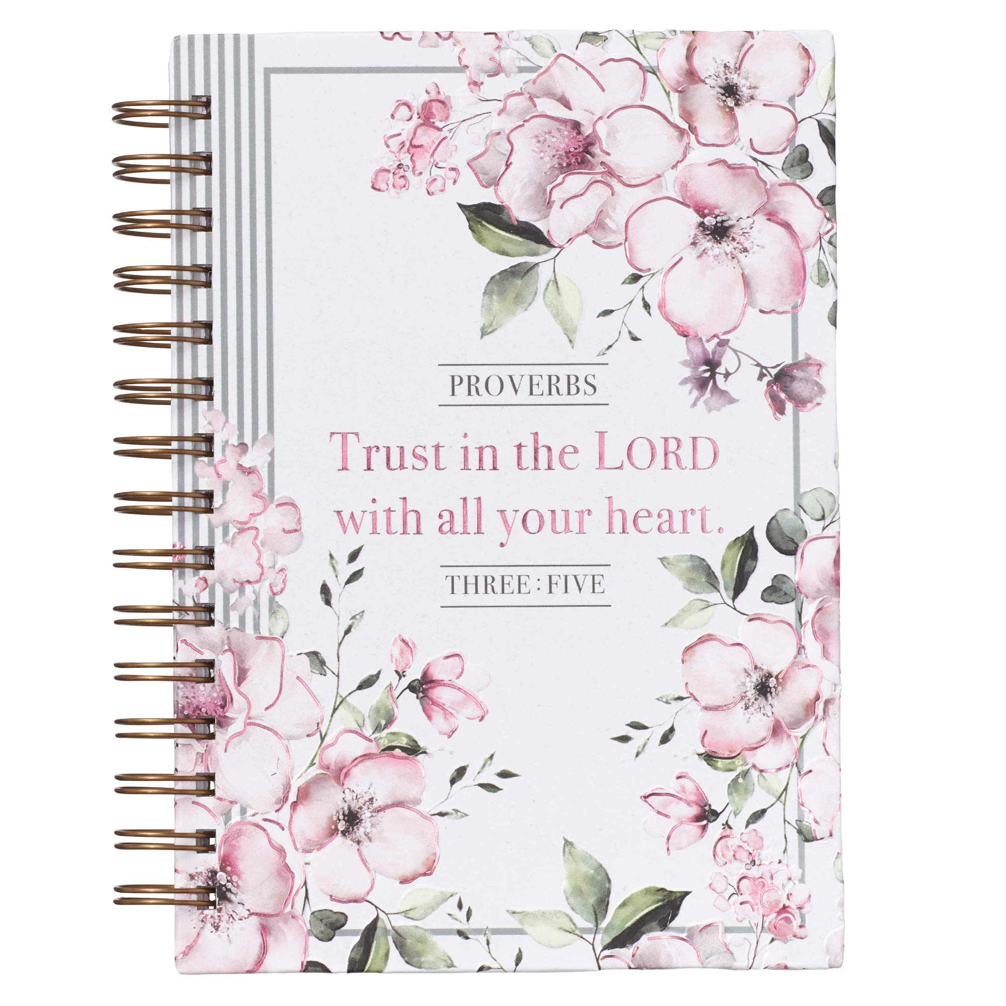 """Christian Art Gifts Large Hardcover Notebook/Journal   Trust In The Lord – Proverbs 3:5 Bible Verse   Pink Flowers Inspirational Wire Bound Spiral Notebook w/192 Lined Pages, 6"""" x 8.25"""""""