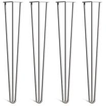 """[HLC] 4 x Heavy Duty Hairpin Table Legs – Superior Double Weld Steel Construction with Free Screws, Build Guide & Protector Feet, Worth $10! – 16"""" to 40"""", All Finishes, 1/2"""" [28"""", 3 Rod, Clear]"""