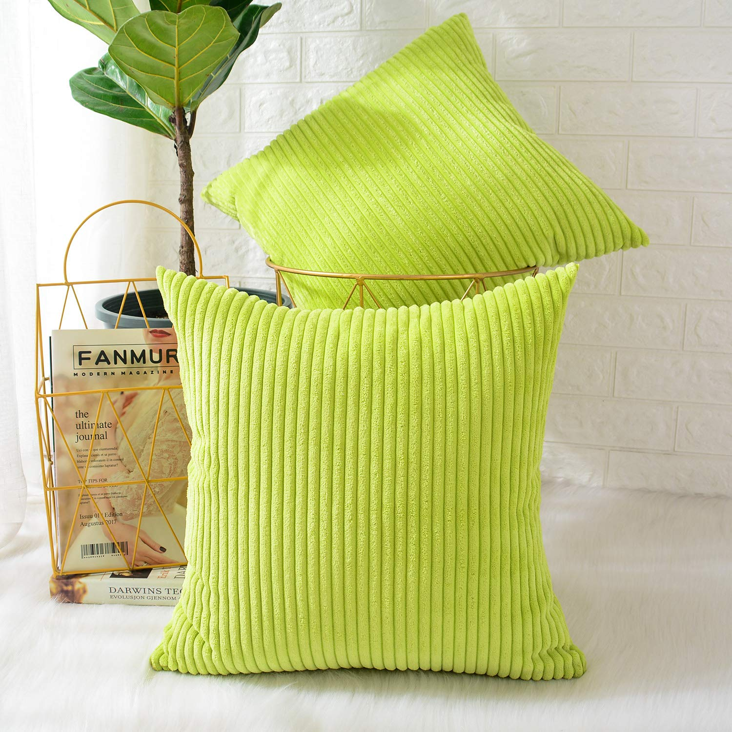 MERNETTE New Year/Christmas Decorations Corduroy Soft Decorative Square Throw Pillow Cover Cushion Covers Pillowcase, Home Decor for Party/Xmas 16x16 Inch/40x40 cm, Green, Set of 2