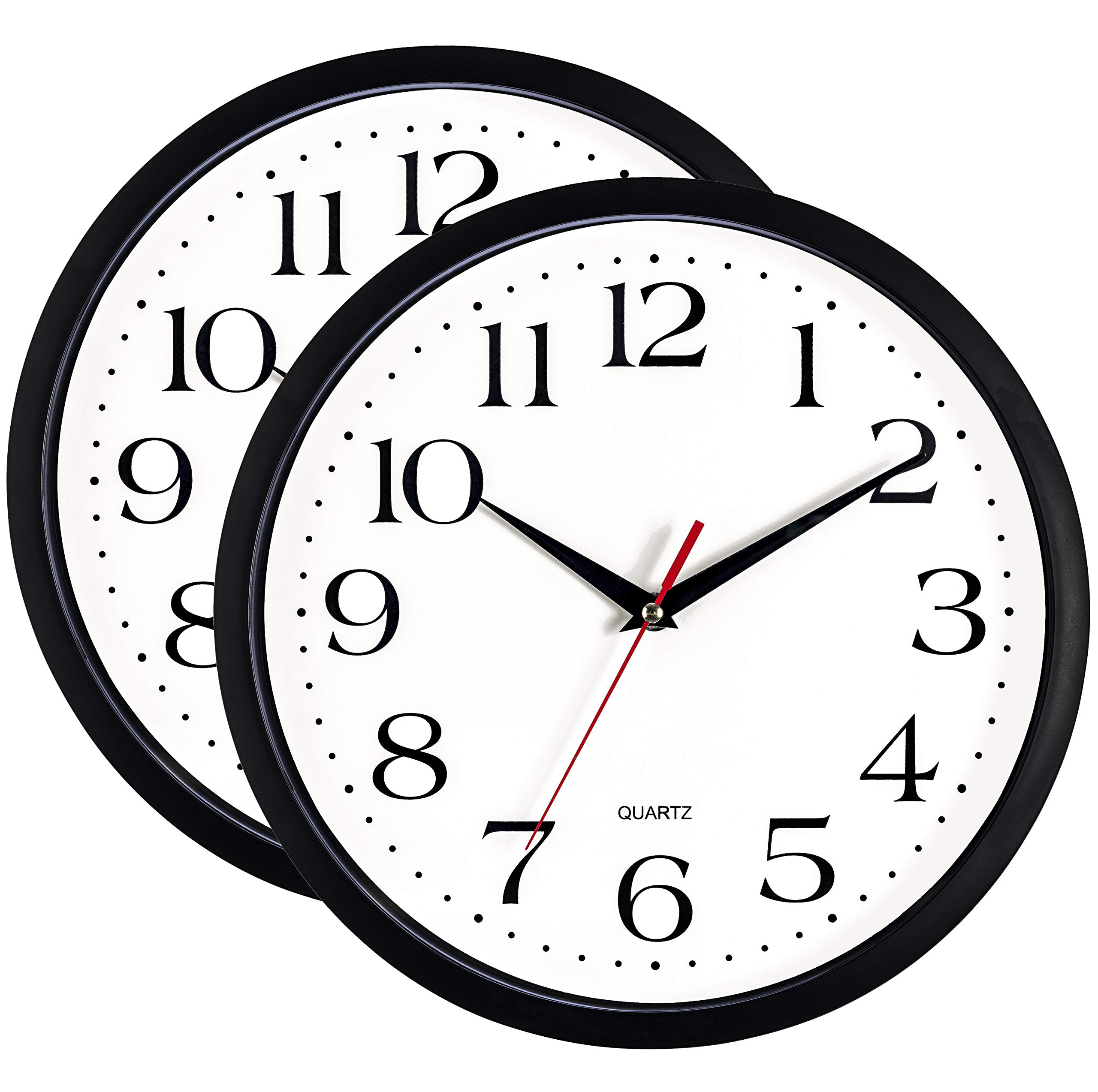 Bernhard Products Black Wall Clocks, 2 Pack Silent Non Ticking - 12 Inch Quality Quartz Battery Operated Round Easy to Read Home/Office/Classroom/Business/Kitchen/School Clock
