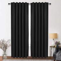 WONTEX Thermal Insulated Blackout Curtains, Back Tab and Rod Pocket Room Darkening Curtains for Living Room and Bedroom, Set of 2 Curtain Panels, 42 x 84 inch, Black