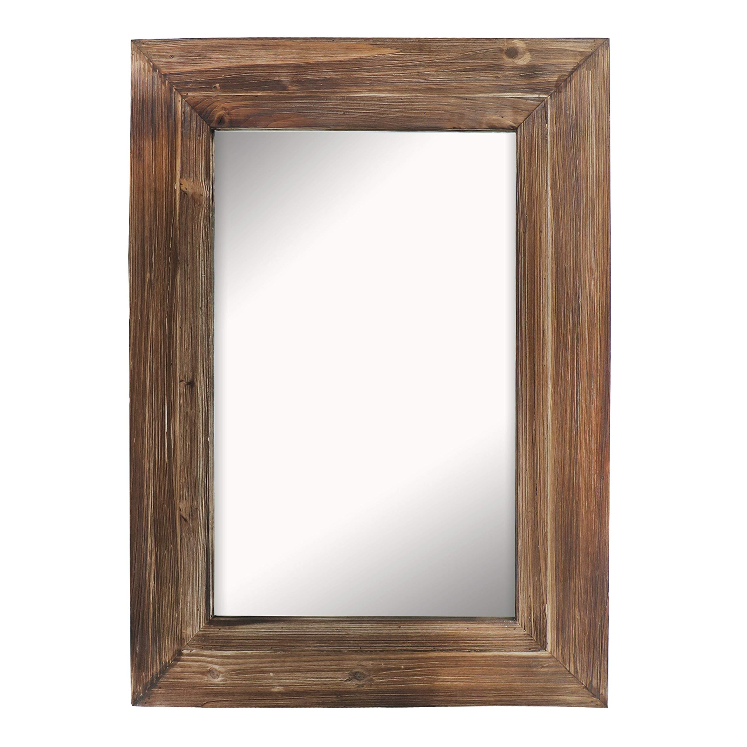 """Barnyard Designs Decorative Torched Wood Frame Wall Mirror, Large Rustic Farmhouse Mirror Decor, Vertical or Horizontal Hanging, for Bathroom Vanity, Living Room or Bedroom, 32"""" x 24"""""""