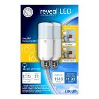 GE Lighting Reveal LED Bright Stik 100W Replacement LED Light Bulbs, 2-Pack, Daylight, General Purpose, Medium Base