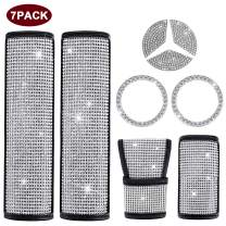 igingko 7PCS Bling Car Accessories for Women, Including 1 Steering Wheel Logo Decal for Mercedes-Benz 49mm, 2 Bling Ring Emblem Stickers, 2 Seat Belt Covers, 1 Gear Shift Cover, 1 Handbrake Cover