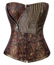Charmian Women's Steampunk Retro Brocade Victorian Stripe Boned Bustier Corset