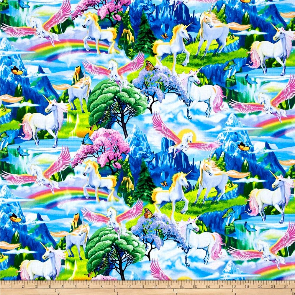 Timeless Treasures Magical Gardens Unicorns Multi Fabric by The Yard