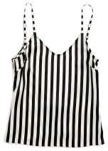 Morgan Lane 'Mackenzie' Cami, Silk Striped Camisole Pajama Top, Spaghetti Straps Adjustable, Low Back
