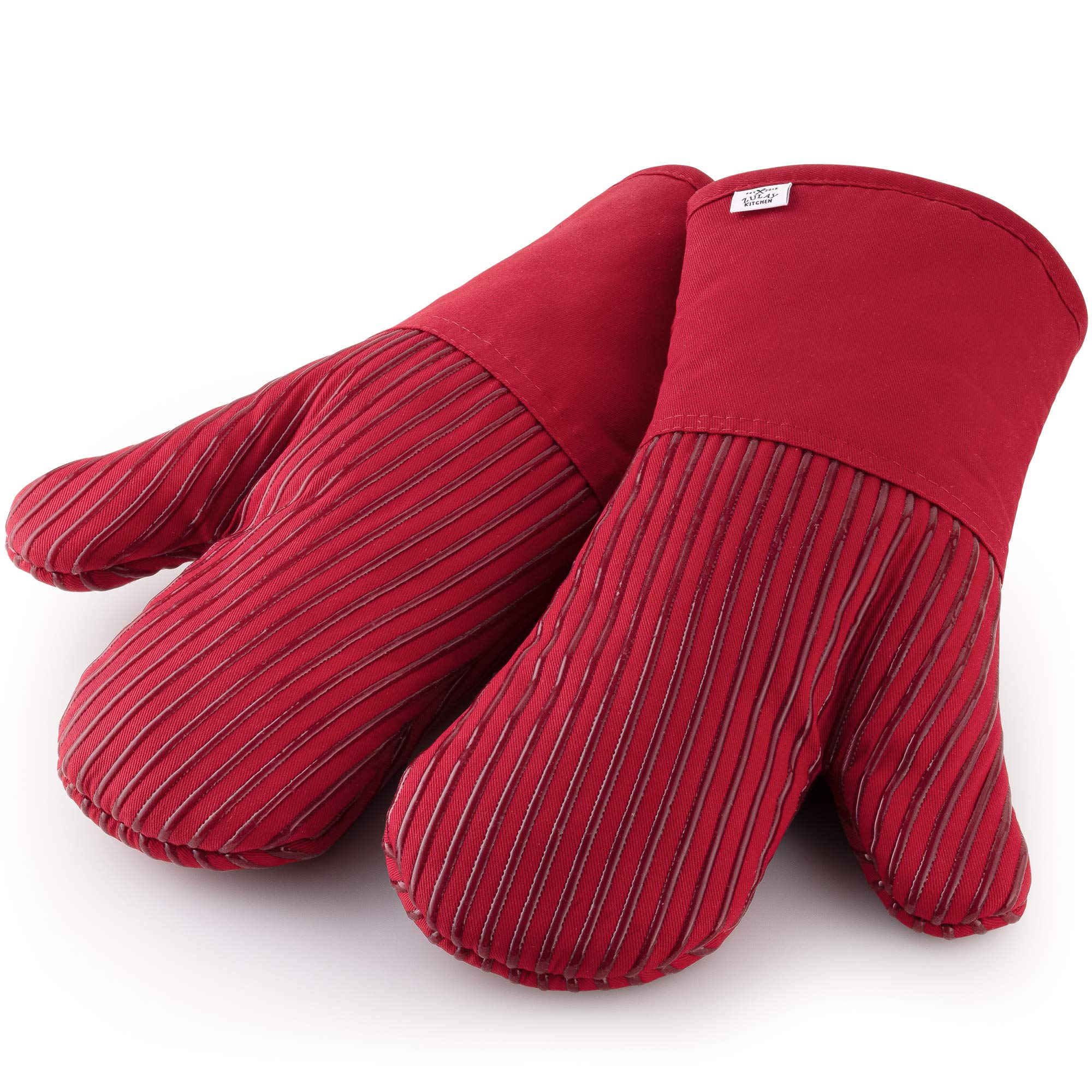 Zulay Professional Oven Mitts - 450F Heat Resistant Thick Cotton Kitchen Mittens with Non Slip Silicone Lining - Comfortable Oven Mittens with Upgraded Thumb Grip for Baking, BBQ & Cooking (Red)