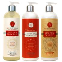 Spa Destinations TRIO 16 ounce - Argan & Acai Body Wash, Argan & Acai Body Lotion and Argan & Acai Smooth & Sunless Gradual Bronzer