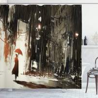 """Ambesonne Fantasy Shower Curtain, Woman with Umbrella in Rain Old Town Ruins Apocalypse Superhero Action Desgin, Cloth Fabric Bathroom Decor Set with Hooks, 70"""" Long, Beige Green"""