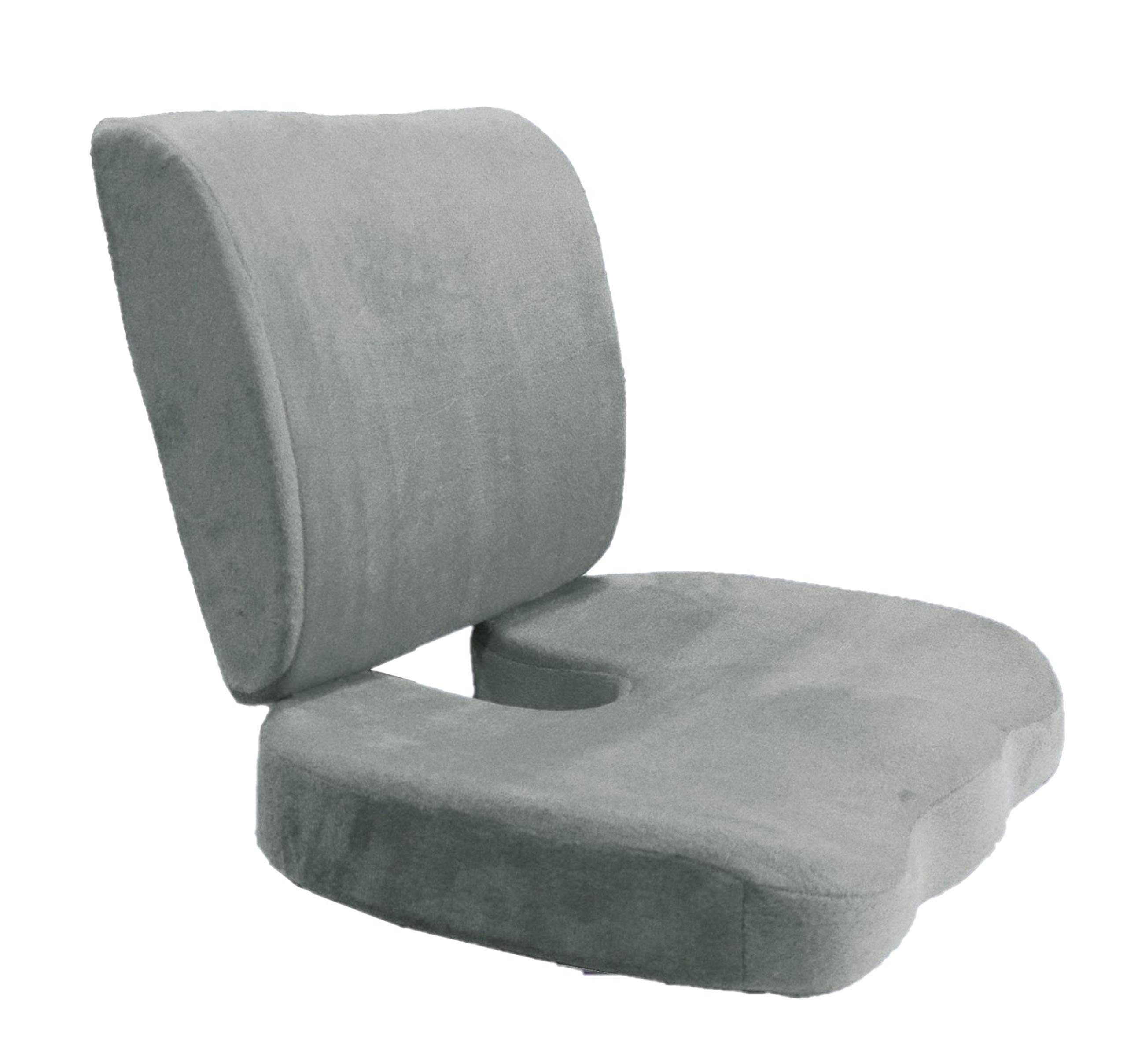 Adjustable Strap Lumbar Back Cushion and Seat Cushion: Back Support Pillow Memory Foam Car Office Chair (Gray Cushion and Seat Cushion)