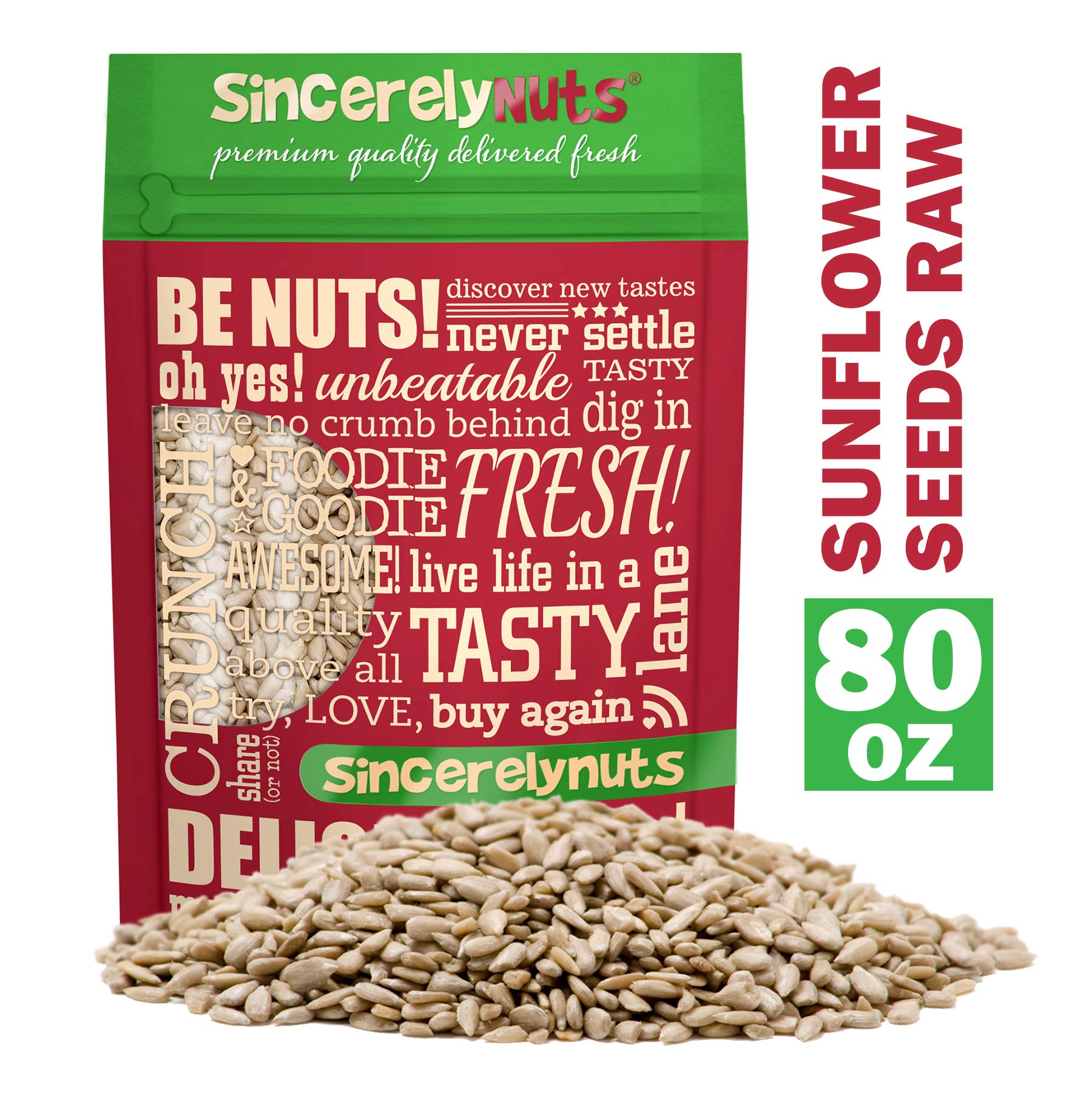 Sincerely Nuts Sunflower Seed Kernels Raw (No Shell) (5lb bag)   Delicious Antioxidant Rich Snack   Source of Protein, Fiber, Essential Vitamins & Minerals   Vegan and Gluten Free
